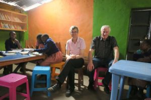 Trustees Peter and Paul visiting the Community Library in Laini Saba